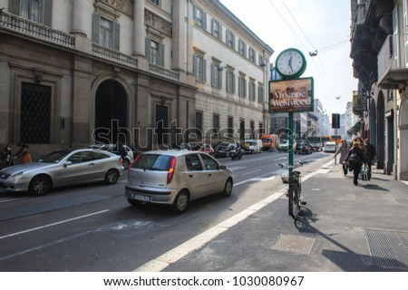 MILAN, ITALY - MARCH 18, 2015: On the streets of the city.