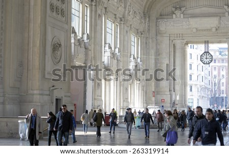 MILAN, ITALY-MARCH 23, 2015: passengers at the Central train station, in Milan.