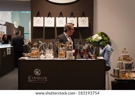 MILAN, ITALY - MARCH 21: People visit Esxence, the art perfumery's event on MARCH 21, 2014 in Milan, Italy - stock photo