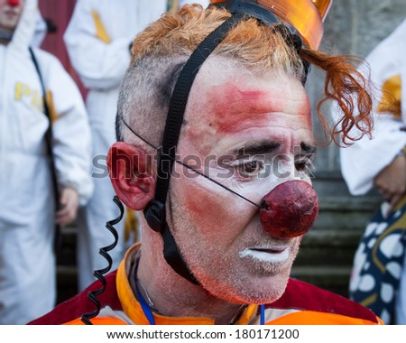 MILAN, ITALY - MARCH 5: Portrait of clown Moriss at Milan Clown Festival, international event dedicated to clowns and street theatre on MARCH 5, 2014 in Milan.