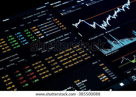 Milan, Italy, March 3rd 2016 - financial software with economic data, commodities performance numbers and charts. Intentionally blurred in the edges.