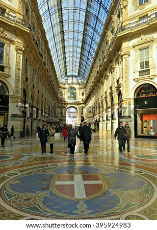 MILAN, ITALY - MARCH 01, 2016: View inside the Galleria Vittorio Emanuele II, which is one of the world's oldest shopping malls, housed within a four-story double arcade in central Milan.