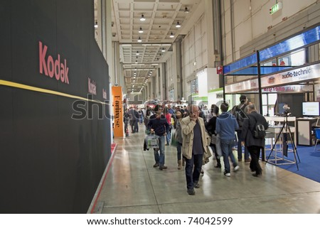 "MILAN, ITALY - MARCH 27: View of international photographic Fair ""Photoshow"" in Milan (25-28 March 2011), March 27, 2011 - stock photo"