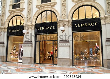 MILAN, ITALY - MAY 20, 2015: A Versace store in Galleria Vittorio Emanuele in Milan, Italy.  - stock photo