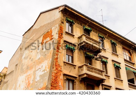 MILAN, ITALY - May 2, 2014: Architecture of the centre of Milan, the capital of Lombardy,  Italy. Milan was the host of the 2015 Universal Exposition