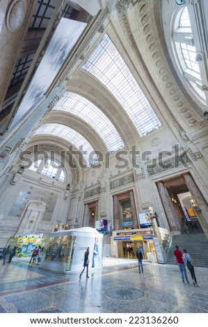 MILAN, ITALY - MAY 6, 2014 : Arrival hall of the Milano Centrale - The main railway station of Milan, Italy on May 6, 2014. It was opened on July 1, 1931.  - stock photo