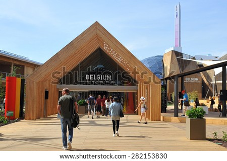 MILAN, ITALY - May 11:  Belgium pavilion at Expo, universal exposition on the theme of food on  May 11, 2015 in Milan, Italy - stock photo