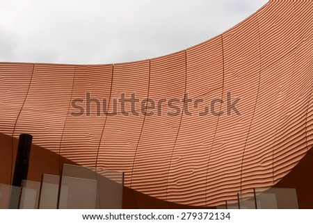 MILAN, ITALY - May 7: desert- sand -like curves, foreshortening of curved lines on  United Arab Emirates pavilion  , shot  on may 7 2015  Milan, Italy  - stock photo