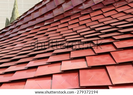 MILAN, ITALY - May 7: detail of red tiles covering Vanke curved pavilion, shot  on may 7 2015  Milan, Italy  - stock photo