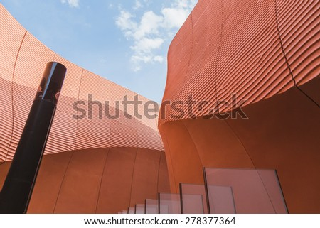 MILAN, ITALY - MAY 13: Detail of  United Arab Emirates pavilion at Expo, universal exposition on the theme of food on MAY 13, 2015 in Milan. - stock photo