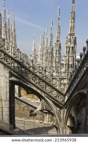 Milan, Italy, May 9, 2014: Duomo Cathedral in Milan. Image taken from the roof, facing the Basilica's pinnacles.