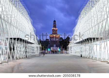 MILAN, ITALY - MAY 31: Expo2015 Gate in Piazza Castelo, Milan, Italy with the Sforza Castle in the background on May 31, 2014. Expo 2015 is the next Universal Exposition. - stock photo