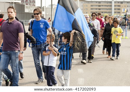 MILAN, ITALY, MAY-7-2016: FC Internazionale, football supporters attending out of the Giuseppe Meazza stadium as San Siro, before Inter-Empoli, the last match of te Serie A season 2015-2016
