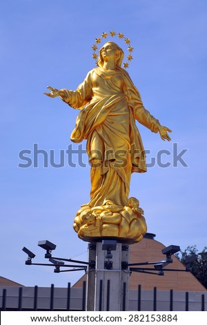 MILAN, ITALY - May 11:  Madonnina reproduction   at Expo, universal exposition on the theme of food on  May 11, 2015 in Milan, Italy - stock photo