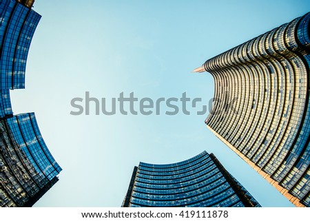 MILAN, ITALY - MAY 04,2016: Milan Porta Garibaldi district. The Unicredit Bank skyscraper , view from Piazza Gae Aulenti..