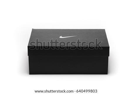 Milan, Italy - May 1, 2017: NIKE shoe box witch Nike logo.