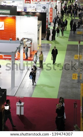 MILAN, ITALY - MAY 20: Panoramic view of people at food stands during Tuttofood, Milano World Food Exhibition May 20, 2013 in Milan, Italy.