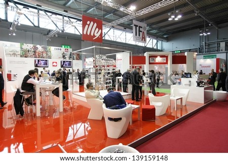 MILAN, ITALY - MAY 20: People at Illy productions exhibition stands at Tuttofood, Milano World Food Exhibition May 20, 2013 in Milan, Italy.