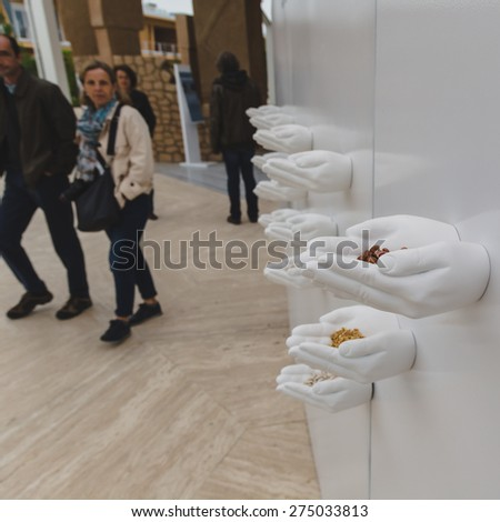 MILAN, ITALY - MAY 1: People visit Turkey pavilion at Expo, universal exposition on the theme of food on MAY 1, 2015 in Milan.