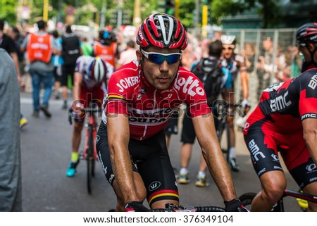 Milan, Italy 31 May  2015; Professional Cyclist tired in Milan after concluding Giro DItalia2015