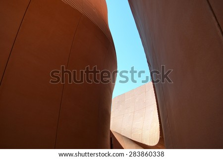 MILAN, ITALY - May 11: Saudi Arabia pavilion at Expo, universal exposition on the theme of food on  May 11, 2015 in Milan, Italy.  - stock photo