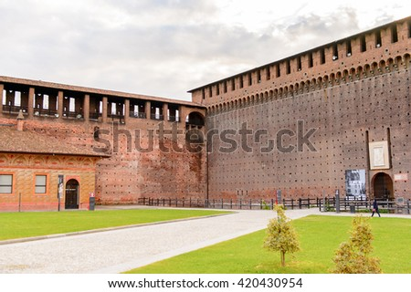 MILAN, ITALY - MAY 2, 2016: Sforza Castle (Castello Sforzesco), a castle in Milan, Italy. It was built in the 15th century by Francesco Sforza, Duke of Milan