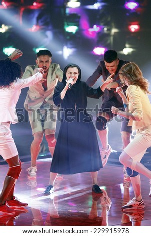 MILAN, ITALY - MAY 07: Sister Cristina Scuccia performs during 'The Voice of Italy' award on May 7, 2014 in Milan,Italy.