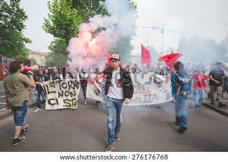 MILAN, ITALY - MAY 05: Students manifestation held in Milan on May, 5 2015. Students and teachers took to the streets to protest against new laws on education by minister Stefania Giannini