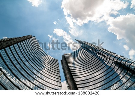 MILAN, ITALY - MAY 8: Unicredit tower on May 8, 2013. Unicredit Tower, in Garibaldi district, 231 meters high, is the tallest Skyscraper in Italy designed by architect Cesar Pelli - stock photo