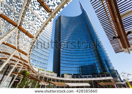 Milan, Italy - May 04 2016: View of the new modern glass skyscrapers built for the Expo Milano 2015 in the Porta Nuova area