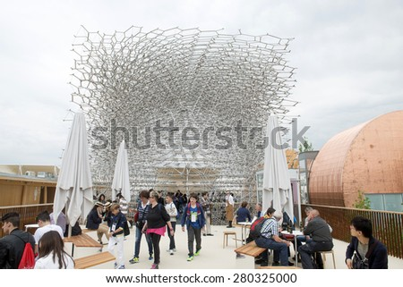 MILAN, ITALY-MAY 04, 2015: visitors on the hive of the British pavillion at EXPO 2015, in Milan. - stock photo