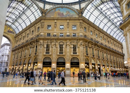 MILAN, ITALY - MAY 07, 2014: Vittorio Emmanuele II shopping galler in Milan, Italy. Inaugurated in 1865, the gallery claims to be the oldest shopping center worldwide. - stock photo