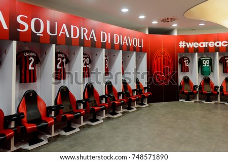 MILAN, ITALY - NOV 3, 2017: AC Milan locker room at the San Siro or Giuseppe Meazza stadium, opened in 1925