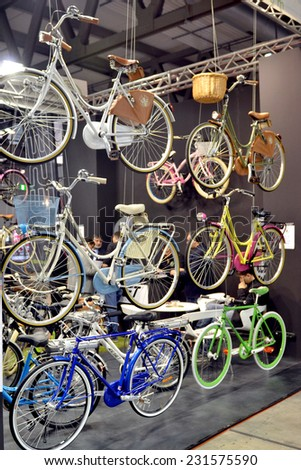 MILAN, ITALY - NOV 8:  Bicycle at EICMA, 72 th International Motorcycle Exhibition November 8, 2014 in Milan, Italy. - stock photo