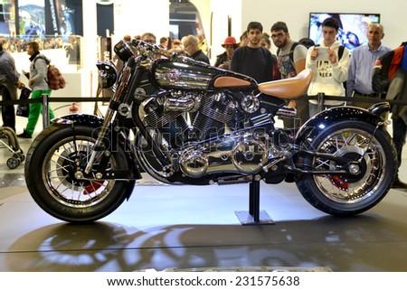 MILAN, ITALY - NOV 8: Custom old Kawasaki  at EICMA, 72 th International Motorcycle Exhibition November 8, 2014 in Milan, Italy.  - stock photo