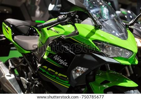 MILAN, ITALY   NOVEMBER 7: Detail Of Kawasaki Motorbike At EICMA,  International Motorcycle