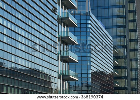 MILAN, ITALY - NOVEMBER 7, 2015: Diamantini Buildings designed by the Kohn Pederson Fox in the Porta Nuova district in Milan, Lombardy, Italy. - stock photo