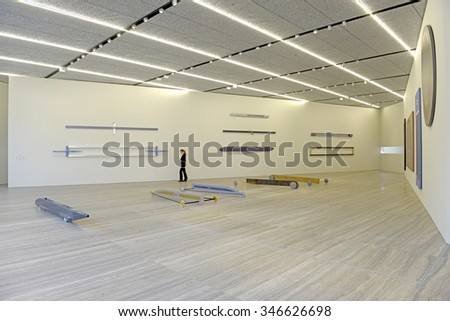 MILAN, ITALY-NOVEMBER 26, 2015: interior room displaying Gianni Piacentino's art at the new Fondazione Prada, contemporary art museum, in Milan.