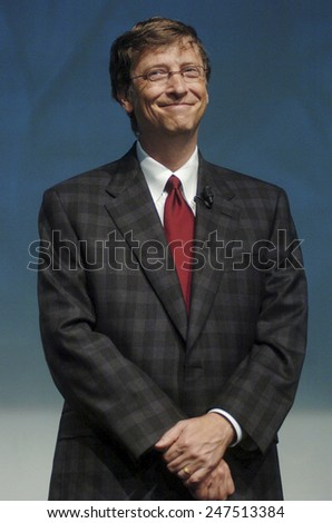 MILAN, ITALY-NOVEMBER 18, 2004: Microsoft founder Bill Gates during the Futurshow convention, in Milan. - stock photo
