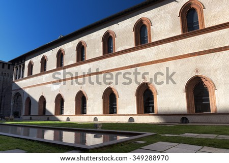 MILAN, ITALY - NOVEMBER 22, 2015: Milan (Lombardy, Italy): internal court of the medieval castle known as Castello Sforzesco (built at end of 15th century(