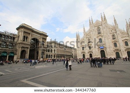 Milan, Italy 26 November 2013 : Morning view of Milan Cathedral (Duomo di Milano), Vittorio Emanuele II Gallery and piazza del Duomo in Milan, Italy. - stock photo