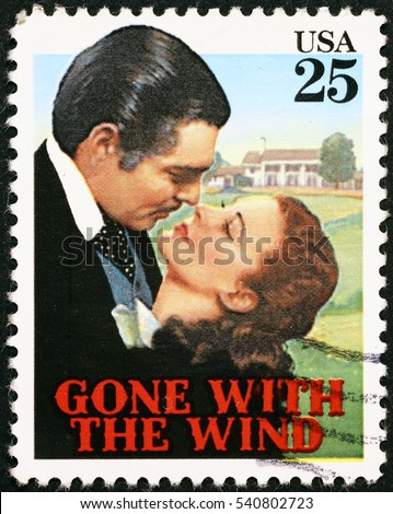 Milan, Italy - November 17, 2016: Movie Gone with the wind on postage stamp