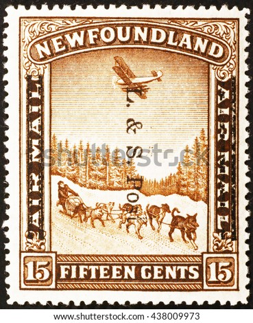 Milan, Italy - November 11, 2014: Old canadian air mail postage stamp of 1933. Newfoundand territories,