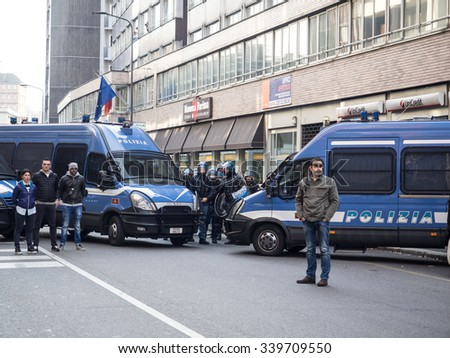MILAN, ITALY - NOVEMBER 13, 2015: Police deployed during the demonstration against the school reform implemented by the government Renzi, called 'Good School'.