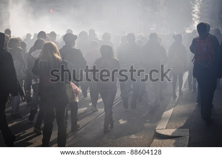 MILAN, ITALY - NOVEMBER 11: protest against economic crisis in Milan november 11, 2011. Students manifests in the streets against the economic crisis and against the govern. - stock photo