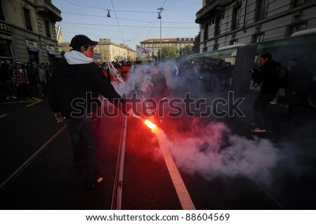 MILAN, ITALY - NOVEMBER 11: protest against economic crisis in Milan november 11, 2011. Students manifests in the streets against the economic crisis and against the govern.