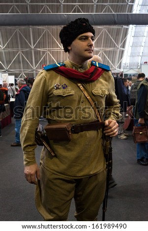 MILAN, ITALY - NOVEMBER 2: Russian soldier at Militalia, exhibition dedicated to militaria collectors and military associations on NOVEMBER 2, 2013 in Milan.