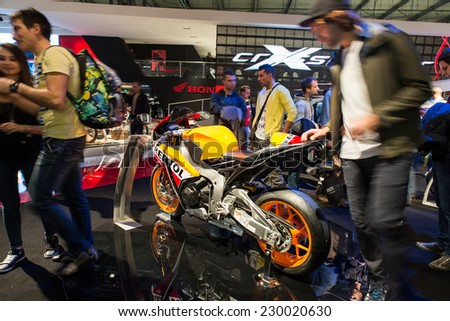 MILAN, ITALY - NOVEMBER 5, 2014. The honda cbr fireblade at Eicma 2014 expo. .Eicma is  a world famous motorbikes show that takes place every year in Milan.