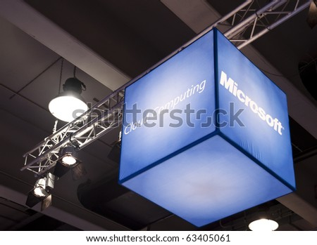 MILAN, ITALY - OCT. 20: Microsoft stand during SMAU, International Exhibition of Information and Communication Technology on October 20, 2010 in Milan, Italy. - stock photo
