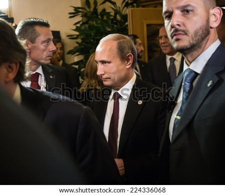 MILAN, ITALY - Oct 17, 2014: Russian President Vladimir Putin during a meeting on the ASEM summit of European and Asian leaders in Milan - stock photo